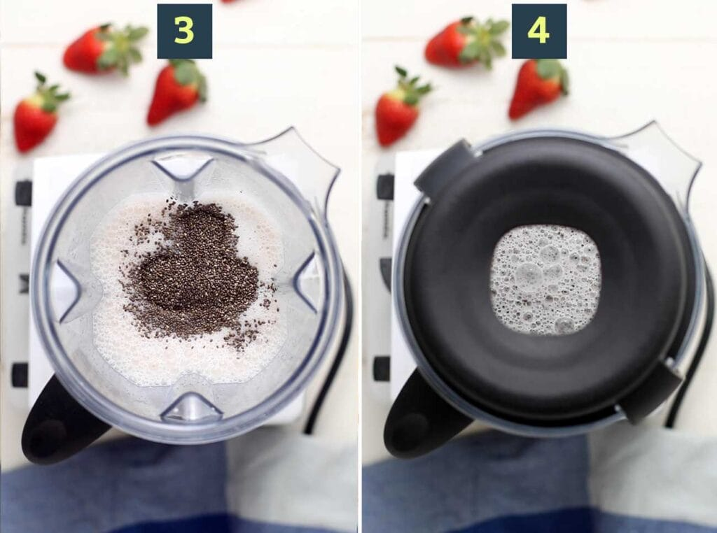 Step 3 shows to add the chia seeds, and step 4 shows to pulse the seeds into the milk mixture to allow to thicken.
