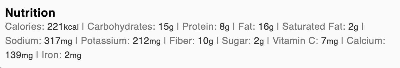 The nutrition facts for the keto almond butter sandwich.