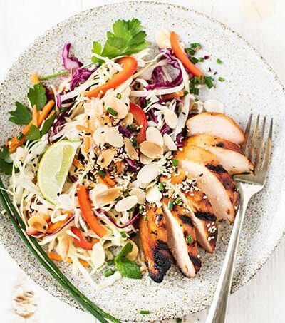 A plate piled high with a colorful Asian Chicken Salad with sliced marinated chicken.