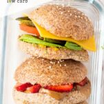 A close up of the 3 keto sandwich ideas in a glass container.