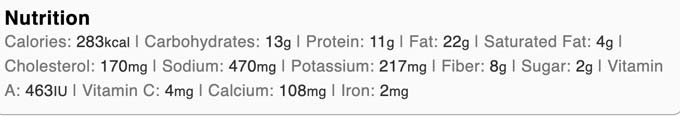Nutrition facts for the keto egg salad sandwich.