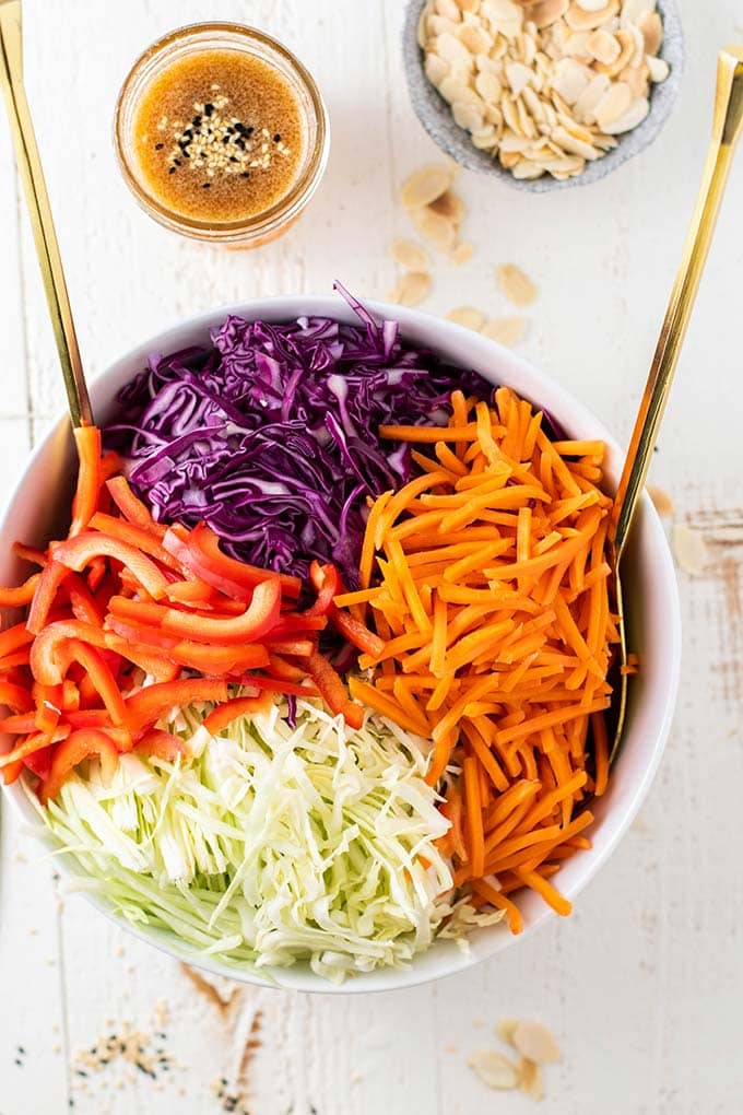 A colorful keto asian cabbage salad in a bowl.