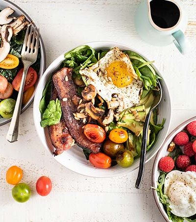 3 breakfast salads topped with protein and healthy fats.