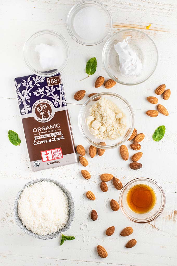 The ingredients for keto almond joy candy bars.