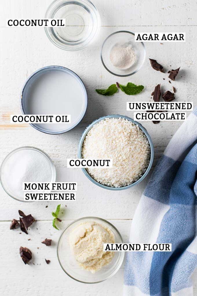 The ingredients prepared for this keto macaroon recipe, with labels to show what everything is.