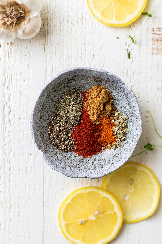 The spices that are combined to create a cajun seasoning.