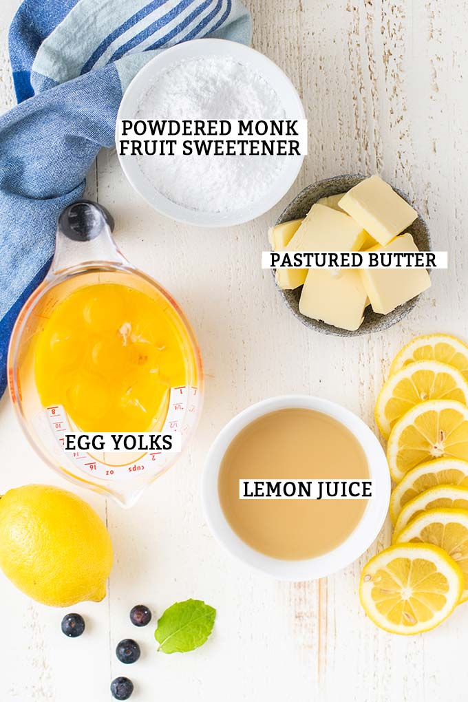 The ingredients for Keto Lemon Curd with labels.