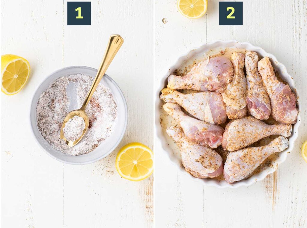 Showing how to mix the seasonings and coat the chicken legs.