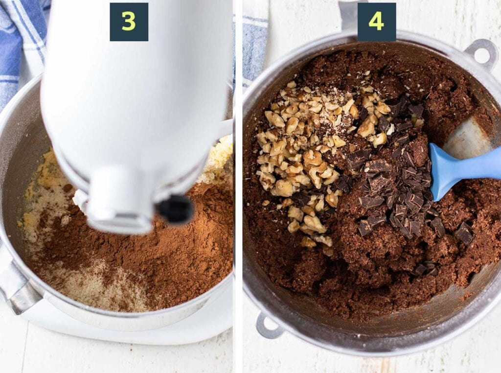 Two images showing to add cocoa powder and almond flour to the wet ingredients, and then add mix ins, like dark chocolate chips and walnuts.
