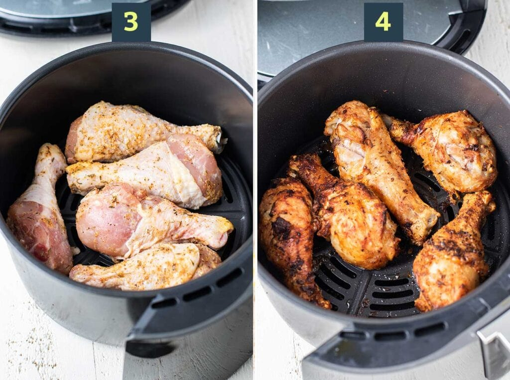 Marinated chicken legs shown in an air fryer raw and golden brown after they've been air fried.
