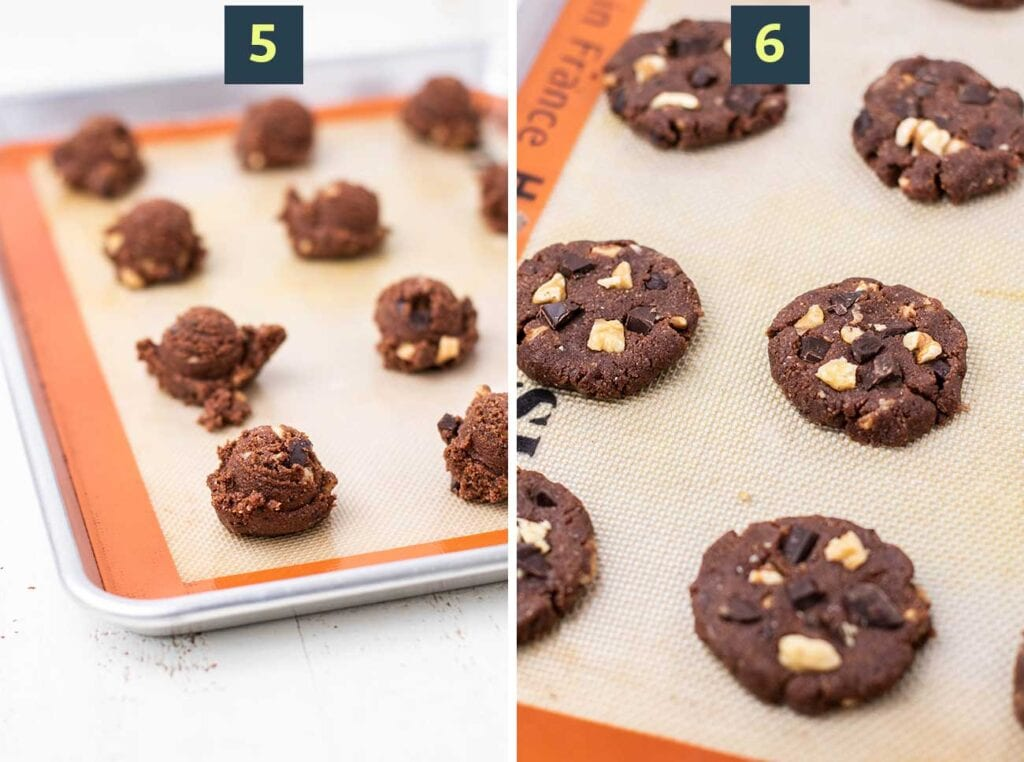 Showing how to scoop the cookies in mounds onto a baking tray, and then flatten them with your hands into a cookie sharp.