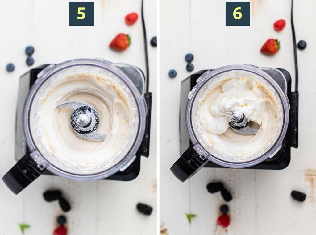 Shows softening the cream cheese in a processor, and then adding the other cheesecake ingredients to process as well.