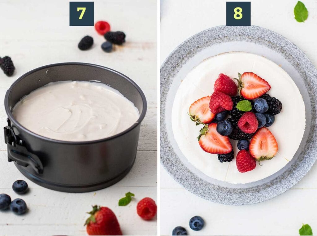 Shows how to top the crust with the cheesecake filling, and then top the cheesecake with fresh berries.