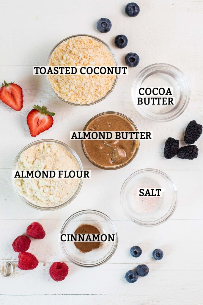 Keto cheesecake crust ingredients with labels.