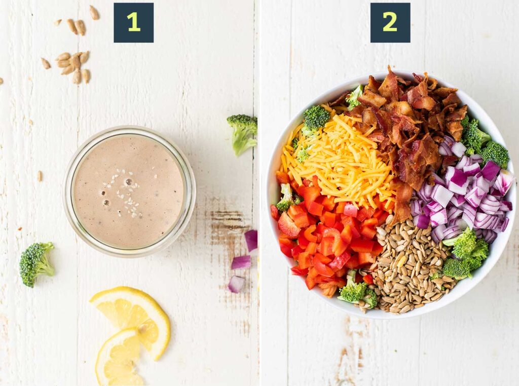 Step 1 shows mixing up a creamy dressing, and step 2 shows adding all the veggies to a bowl.
