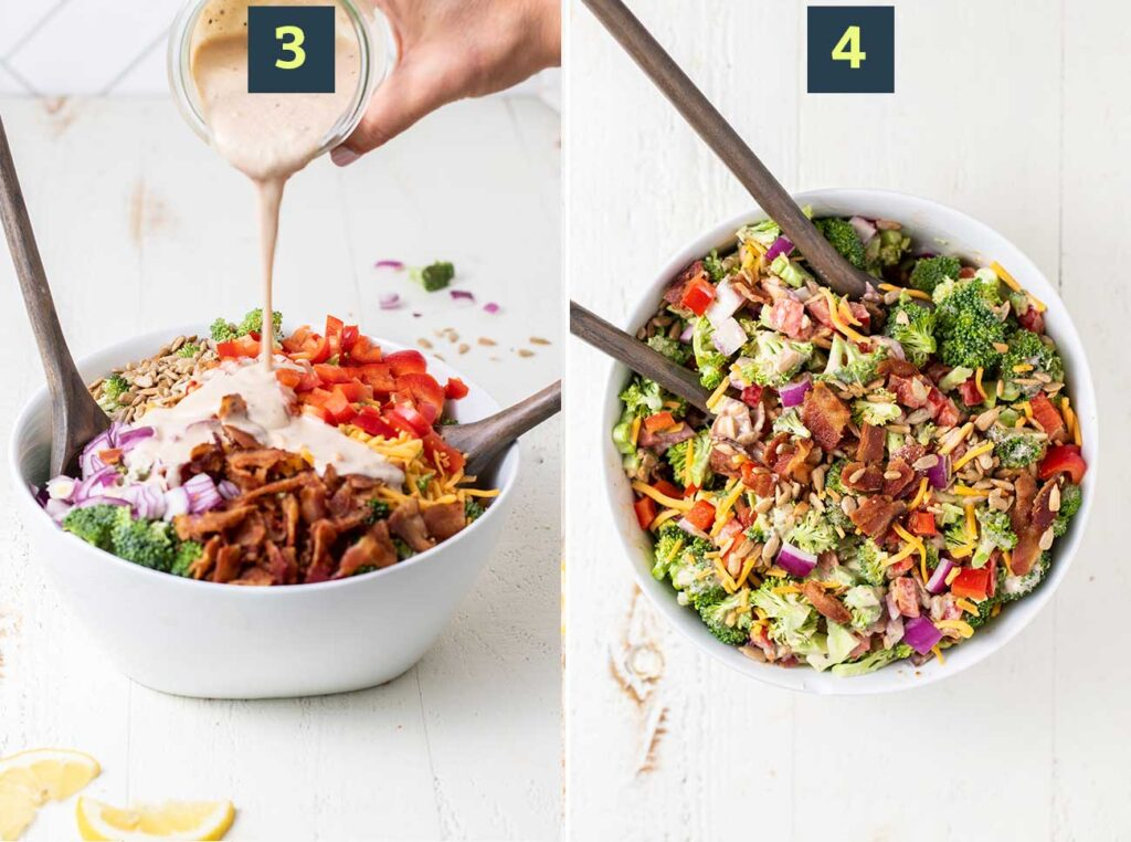 Step 3 is to drizzle the salad with the tahini dressing, and step 4 shows tossing the salad to combine.