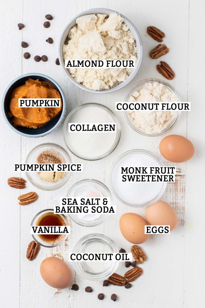 The ingredients for keto pumpkin muffins shown measured and prepared and labeled.