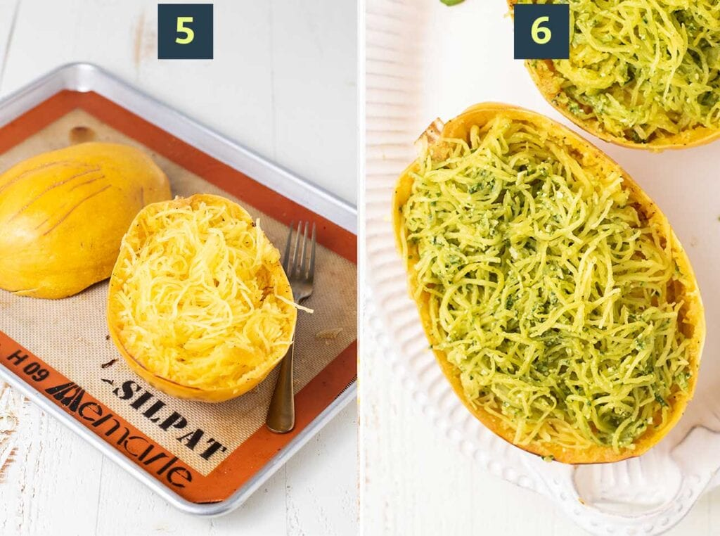 Two images showing the strands pulled from a baked squash, and the strands coated in pesto.
