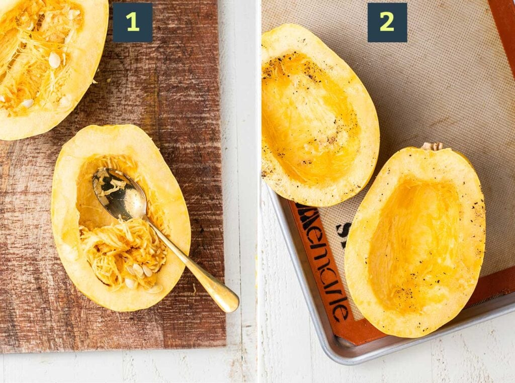 Spaghetti squash shown cut open, having the seeds scoops, and then having the flesh seasoned with avocado oil, salt and pepper.