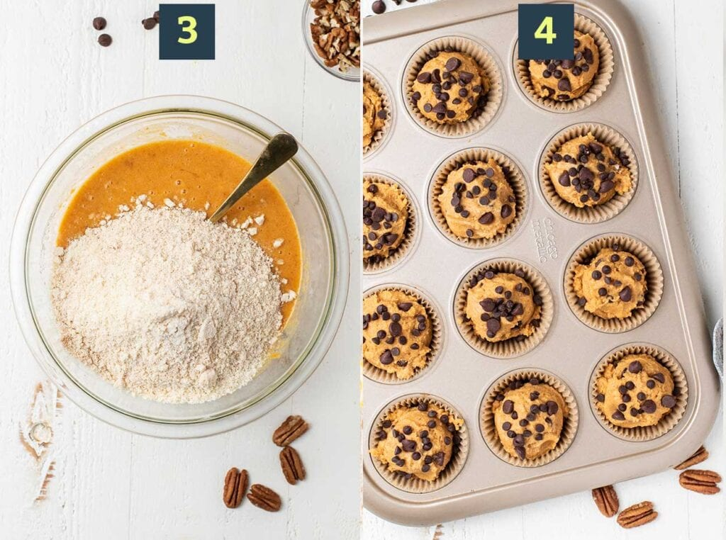 Steps 3 and 4 show how to mix the dry ingredients into the wet, and then scoop the batter into a lined muffin pan.