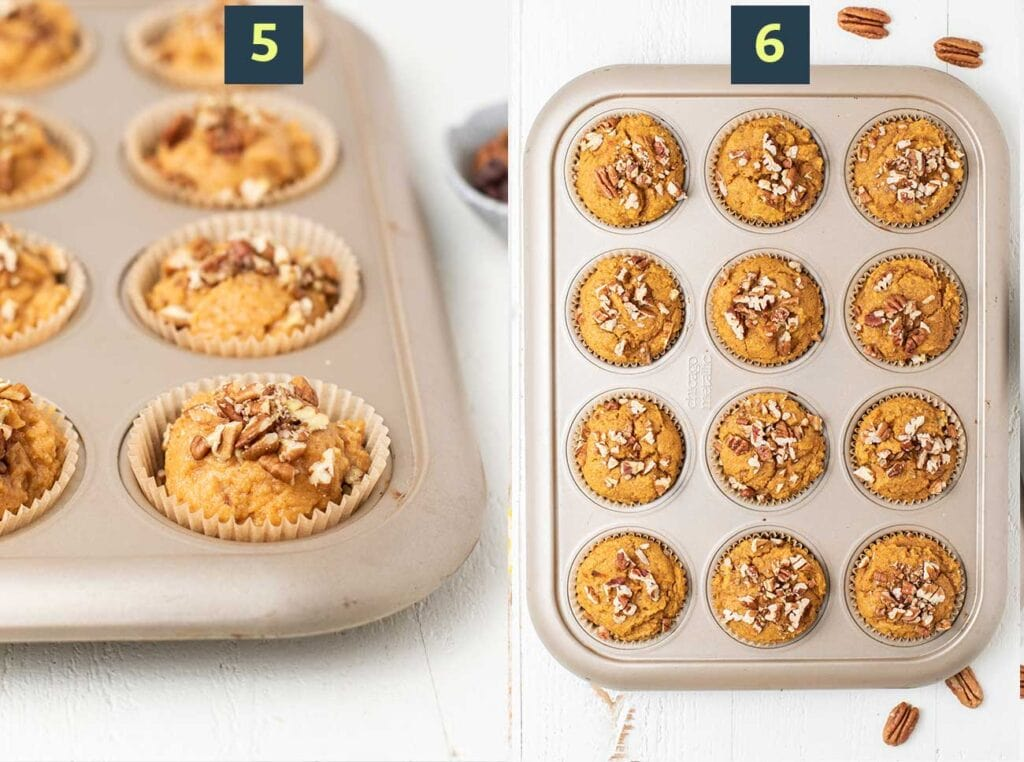 Steps 5 and 6 show how to scoop the batter into a muffin pan and then bake the muffins until rounded.