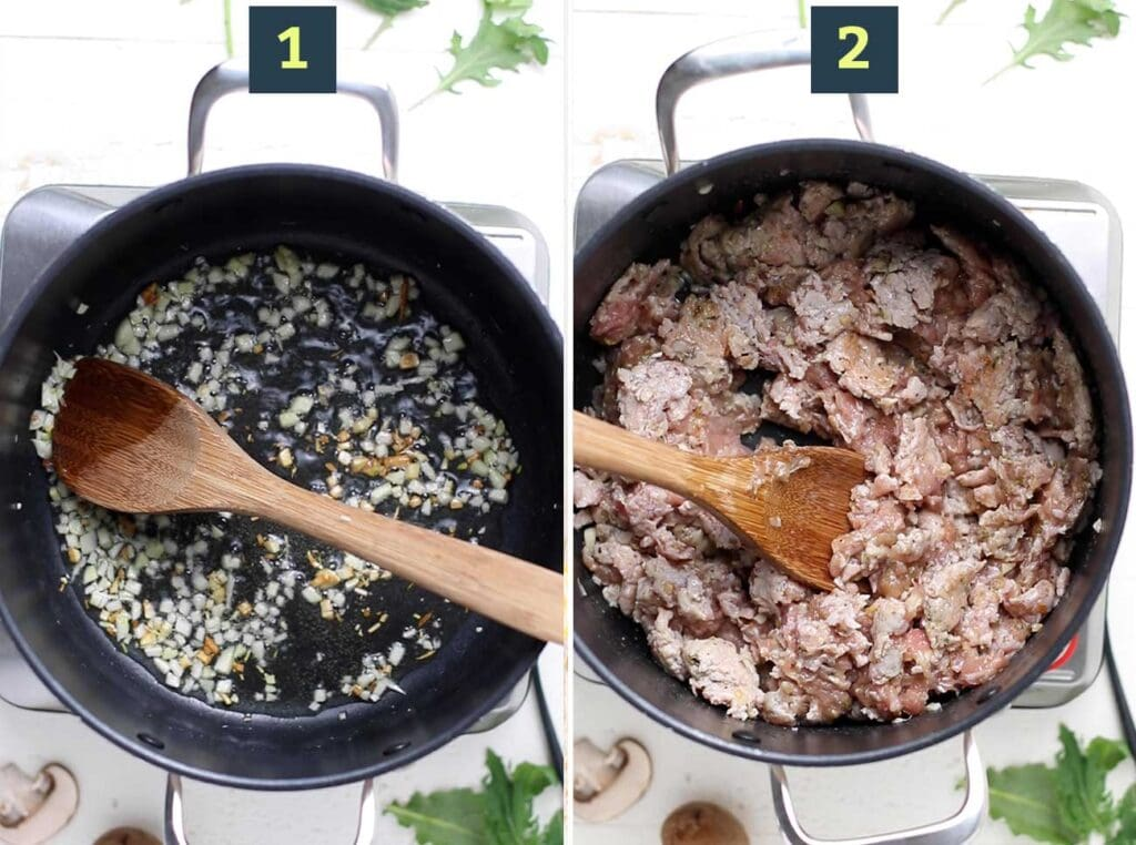 Step 1 shows to fry the garlic in oil, and step 2 shows to brown the sausage in the same soup pot.
