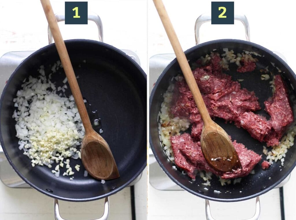 Step 1 shows sauteing the onions and garlic, and step 2 shows browning the beef in the pot.