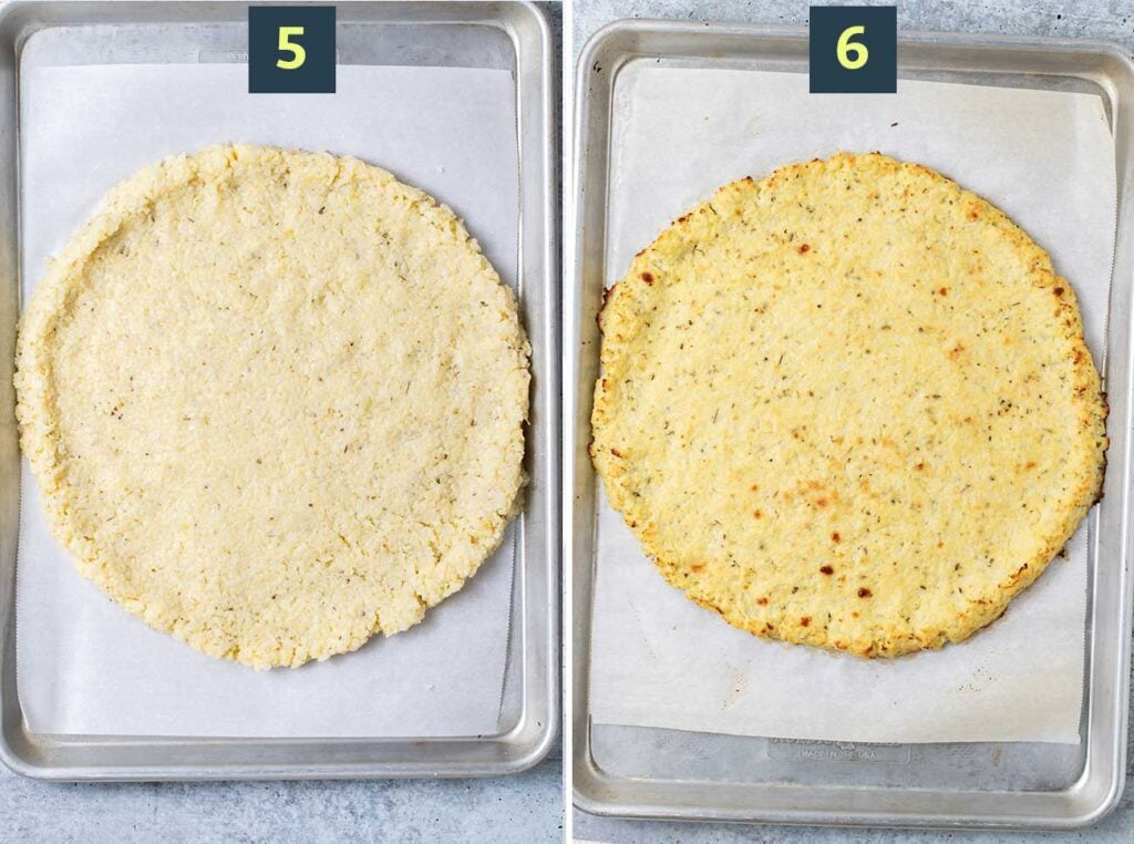 Step 5 shows to form a crust on a baking pan, and step 6 shows to pre bake the crust prior to adding toppings.