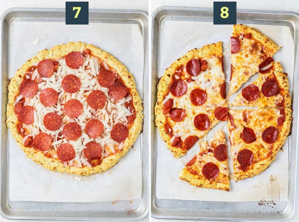 Step 7 shows to add toppings, and step 8 shows to bake the pizza until the cheese bubbles.