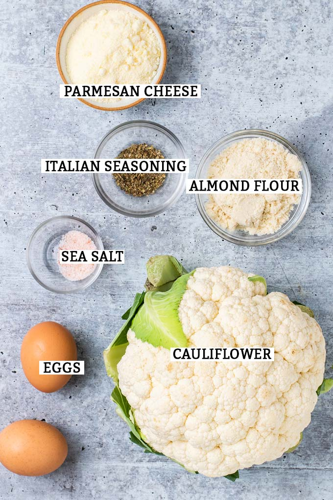 The ingredients needed to make a keto cauliflower pizza crust.