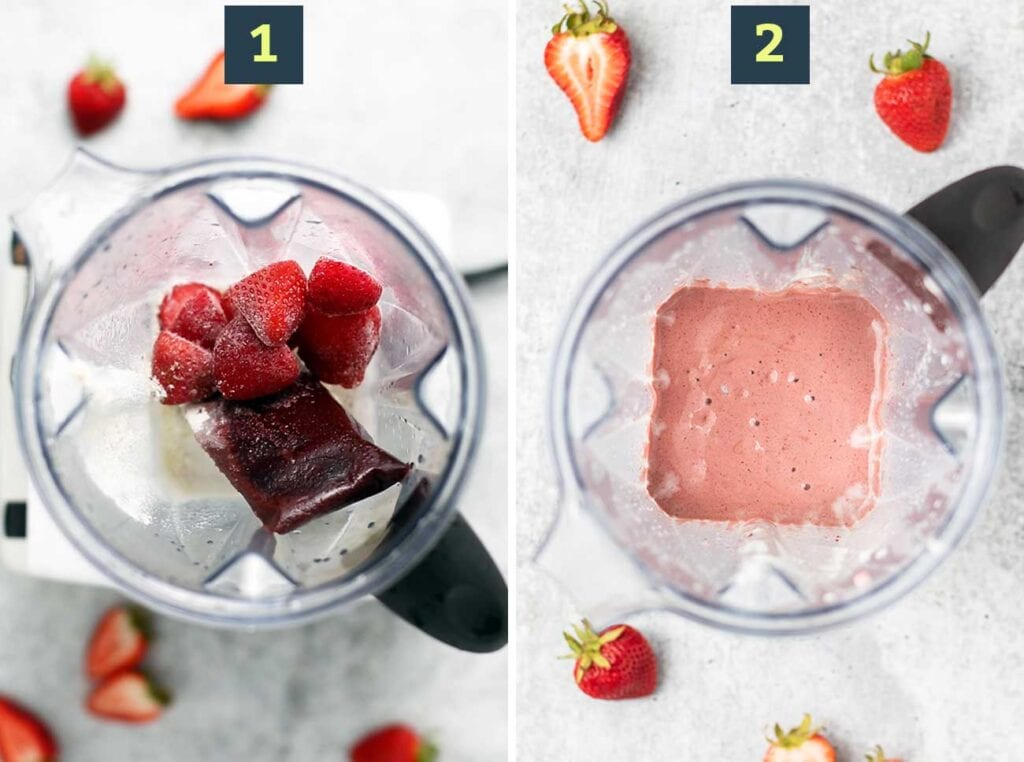 Step 1 shows adding the frozen ingredients to a blender and step 2 shows blending it until it's smooth and creamy.