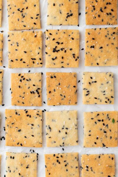 Almond flour crackers shown in a grid.