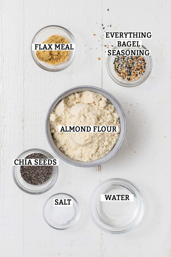 The ingredients needed to make almond flour crackers shown labeled.