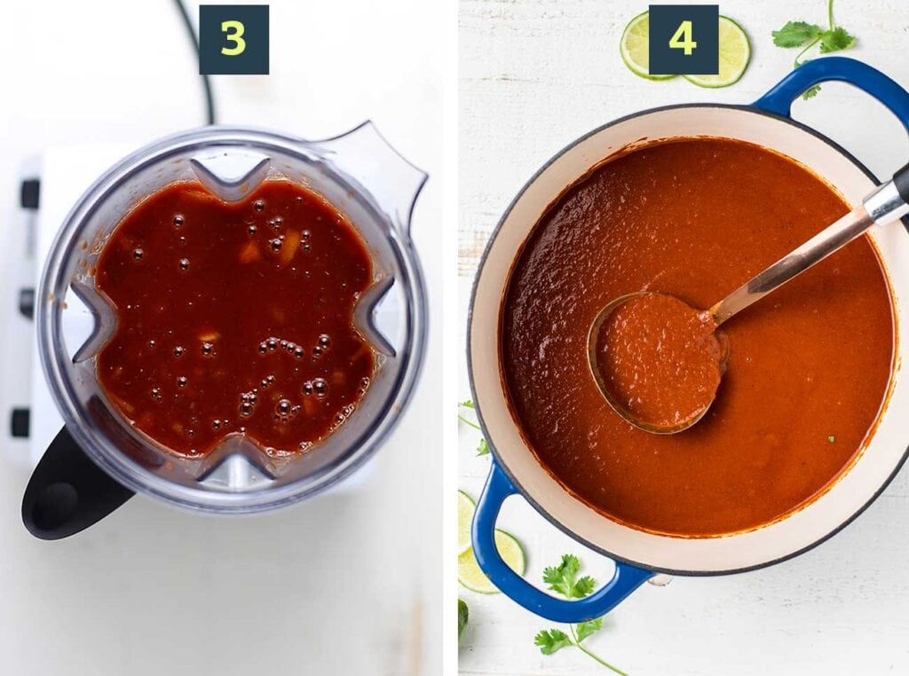 Step 3 shows blending the sauce, and step 4 shows simmering the sauce in the pot.