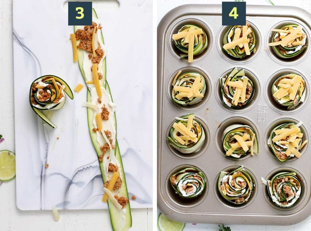 Step 3 shows how to lay out 3 zucchini noodles and add the fillings, and step 4 is putting the roll ups in the muffin pan.