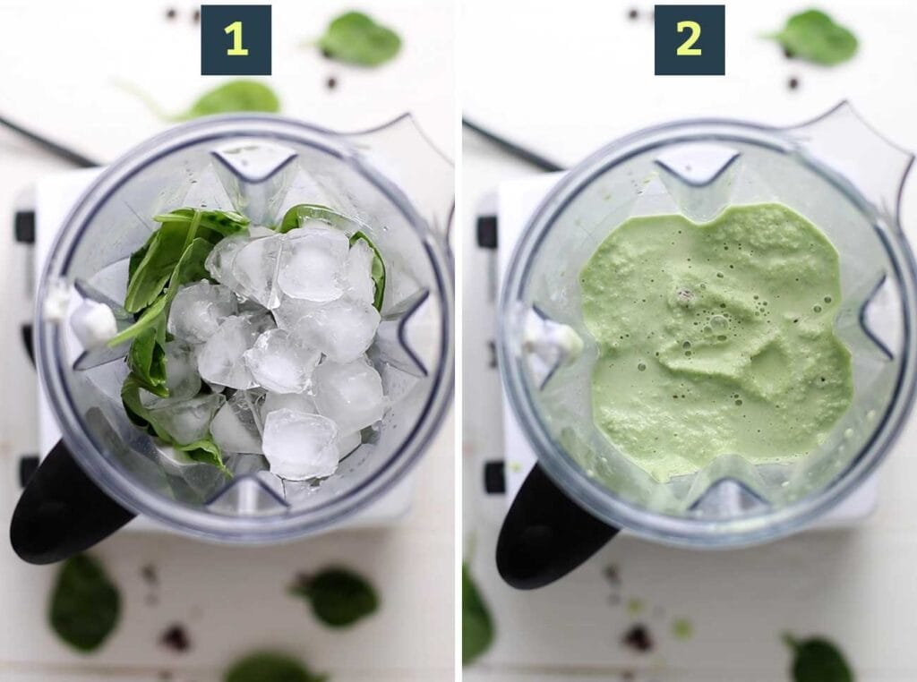 Step 1 shows adding the ingredients to a blender, and step 2 shows blending the green smoothie into a creamy consistency.