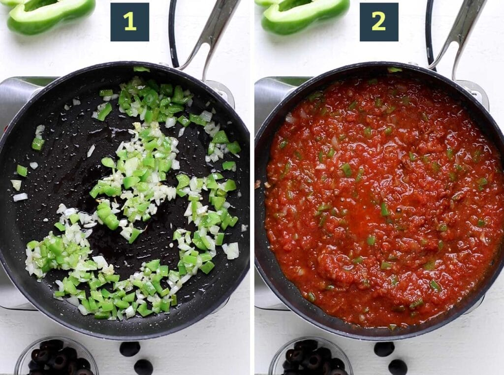 Step 1 shows to saute peppers and onions, and step 2 shows to add crushed tomatoes and spices.