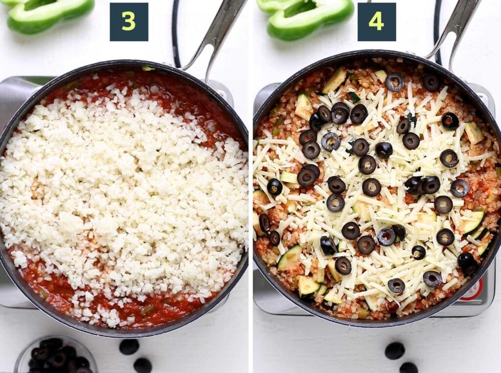 Step 3 shows to add cauliflower rice to the veggie mixture, and step 4 shows to top the skillet with cheese and olives.