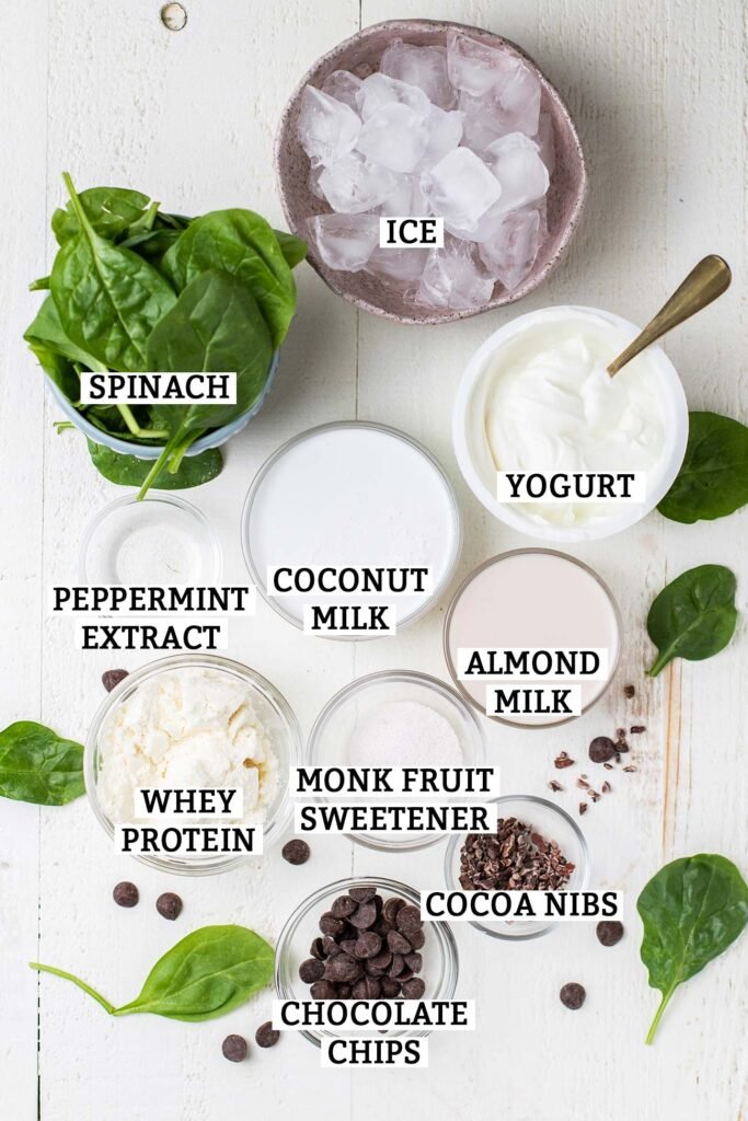 The ingredients needed to make a delicious Mint Chocolate Chip Keto Smoothie ready to be blended.