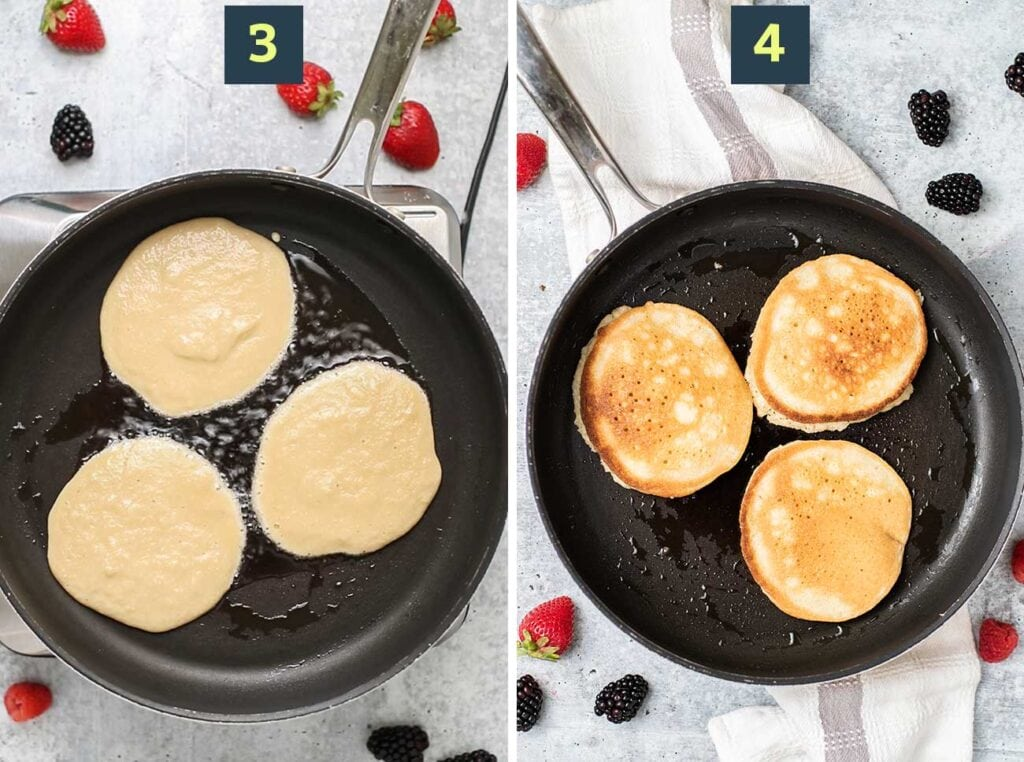 Step 3 shows adding pancake batter to a hot skillet, and step 4 shows flipping the pancakes once they've browned.
