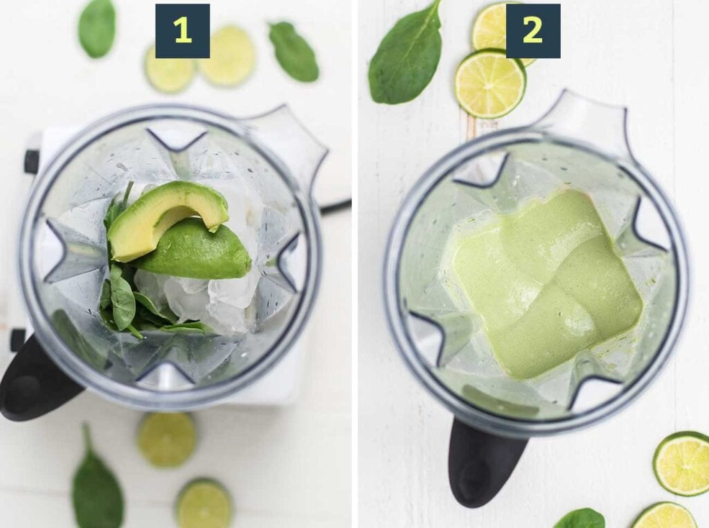 Step 1 shows adding all the ingredients to a blender, and step 2 shows blending it until smooth and creamy.