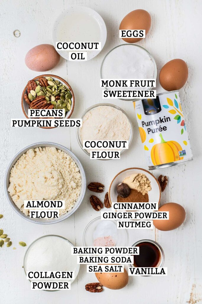 The ingredients needed to make a keto coffee cake shown prepared.
