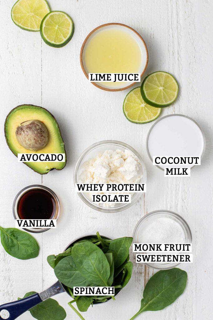The ingredients needed to make a keto avocado smoothie.