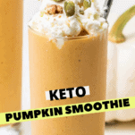 A close up look at a pumpkin smoothie garnished with whipped cream and nuts.