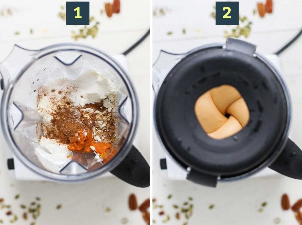Step 1 shows adding the smoothie ingredients into a blender, and step 2 shows processing the smoothie until a creamy texture forms.