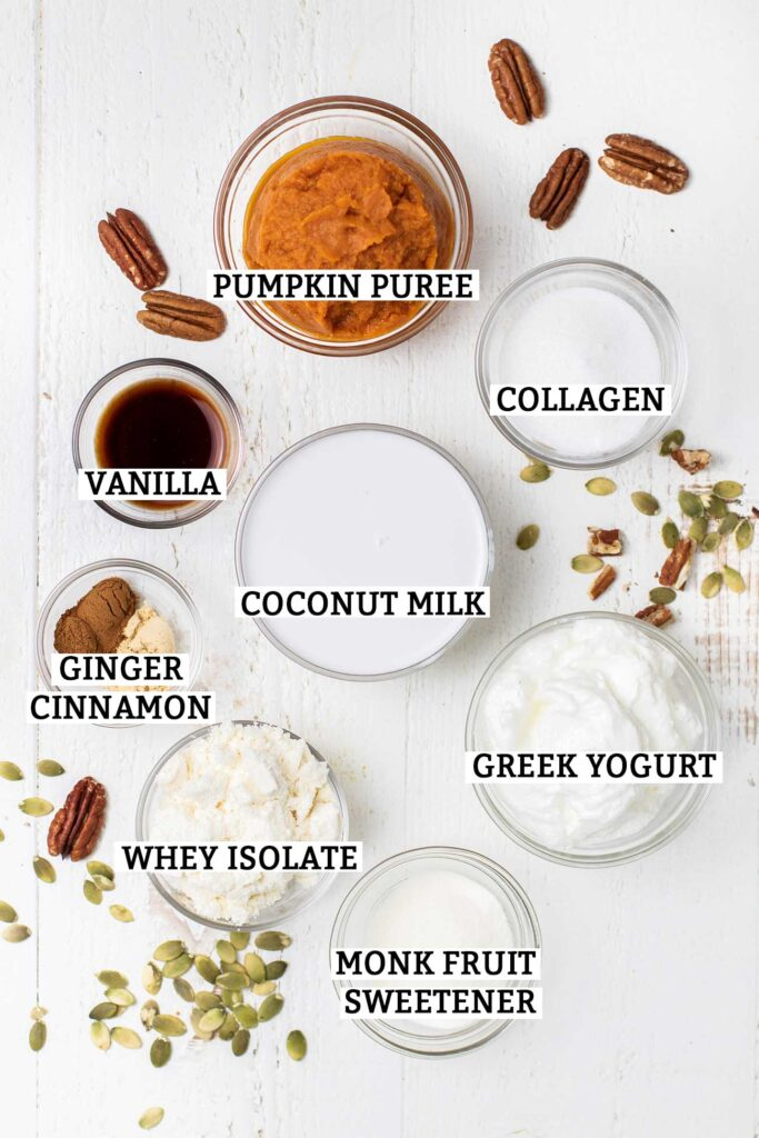 The ingredients used to make keto pumpkin smoothies shown with labels.